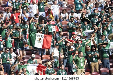 MOSCOW, RUSSIA - June 14, 2018:  fans celebrating during the World Cup  game between Germany and Mexico  at Luzhniki Stadium.