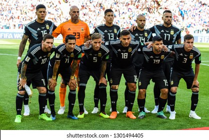 Moscow, Russia - June 14, 2018. National team of Argentina before before FIFA World Cup 2018 match Argentina vs Iceland.