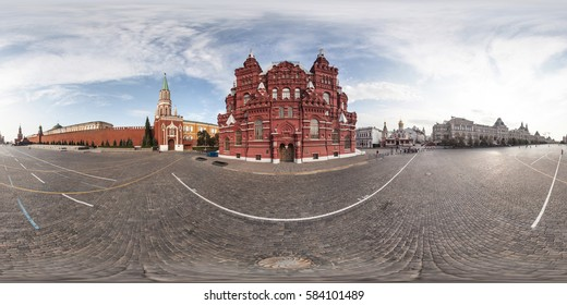 MOSCOW, RUSSIA - June 15, 2014: Full 360 degree equidistant equirectangular spherical panorama in Red Square about Kremlin .VR content