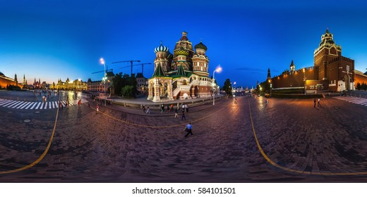 MOSCOW, RUSSIA - June 15, 2014: Full 360 degree equidistant equirectangular spherical panorama in Red Square about Kremlin in the night