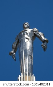 Moscow, Russia - June 15, 2018: Monument to Yuri Gagarin on Gagarin square.  Was opened on July 4, 1980. Sculptor P. I. Bondarenko, architects Y. B. Belopolsky, F. M. Gazhevsky