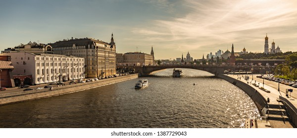 MOSCOW, RUSSIA - June 15, 2018: Panorama Raushskaya embankment and Moskvoretsky bridge in Moscow, Russia