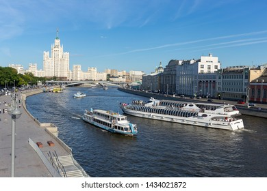 MOSCOW, RUSSIA - June 15, 2018: Moscow river with walking ship in the center of the city