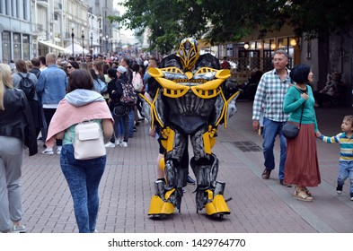 Moscow, Russia- June 15 2019: Old Arbat (Stary Arbat) street. the man in the bumblebee suit.