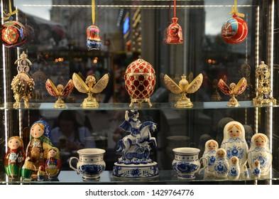 Moscow, Russia- June 15 2019: Old Arbat (Stary Arbat) street. Souvenirs from Russia. Folk art,handmade.