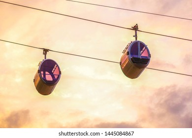 Moscow, Russia - June, 15, 2019: cable cars in Moscow at sunset