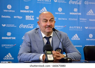 MOSCOW, RUSSIA - JUNE 16, 2017. Russian international football team manager Stanislav Cherchesov at a press conference after test match against Chile.