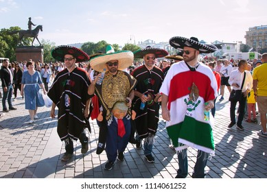 MOSCOW, RUSSIA - June 16, 2018: Mexican football fans on red Square in Moscow. Football world Cup