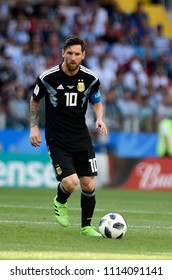 MOSCOW, RUSSIA - June 16, 2018: Leonel Messi  of Argentina kicks the ball during the World Cup Group D game between Argentina and Iceland at Spartak Stadium.