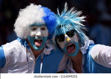 Moscow, Russia - June 16, 2018. Fans from Argentina during FIFA World Cup 2018 match Argentina vs Iceland.