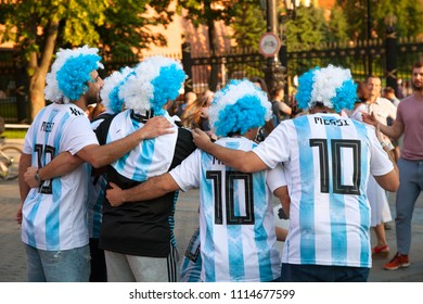 MOSCOW, RUSSIA - June 16, 2018: Argentine football fans on red Square in Moscow. Football world Cup.
