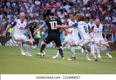 Moscow, Russia - June 16, 2018. Argentina national football team captain Lionel Messi among Icelandic players Emil Hallfredsson, Birkir Bjarnason and Gylfi Sigurdsson during Argentina vs Iceland match