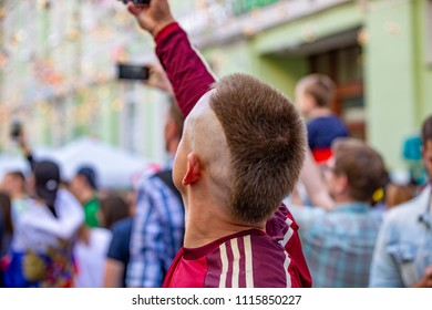 Moscow, Russia, June 16, 2018. World Cup 2018, football fans on the streets of Moscow. Soccer fans from abroad walking down the streets of Moscow, FIFA world cup, Mundial 2018