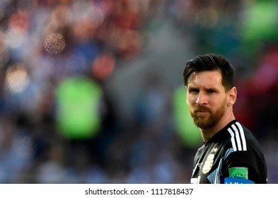 MOSCOW, RUSSIA - June 16, 2018:  World Cup Group D game between Argentina and Iceland at Spartak Stadium..Player Messi