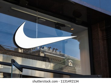 MOSCOW, RUSSIA - June 16, 2018: Nike logo at the store entrance