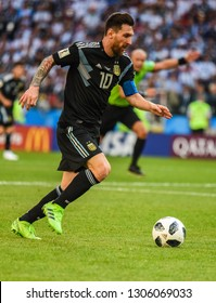 Moscow, Russia - June 16, 2018. Argentina national football team captain Lionel Messi in action during FIFA World Cup 2018 match Argentina vs Iceland.