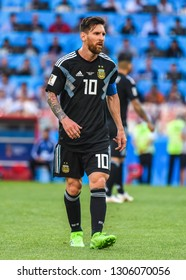 Moscow, Russia - June 16, 2018. Argentina national football team captain Lionel Messi during FIFA World Cup 2018 match Argentina vs Iceland.
