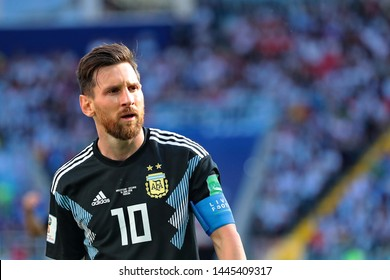 Moscow, Russia, June, 16, 2018. Spartak stadium. Lionel Messi in the football match of FIFA World Cup 2018 between Argentina & Iceland.