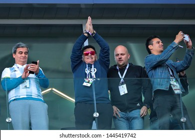 Moscow, Russia, June, 16, 2018. Spartak stadium. Diego Maradona in the football match of FIFA World Cup 2018 between Argentina & Iceland.