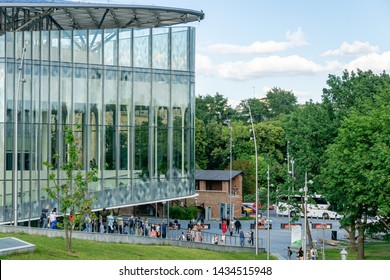 Moscow, Russia - June 16, 2019: Zaryadye Park is tourist attraction of Moscow near the Kremlin. Many people come here to relax with their families. In its place before was world's largest hotel Russia