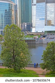 MOSCOW, RUSSIA - JUNE 17, 2017: On bank of Moscow River. Moscow International Business Centre (MIBC)