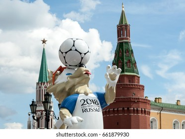 MOSCOW, RUSSIA - June, 17, 2017  The official mascot of the 2018 FIFA World Cup and the FIFA Confederations Cup 2017 wolf Zabivaka at the Manege Square in Moscow.