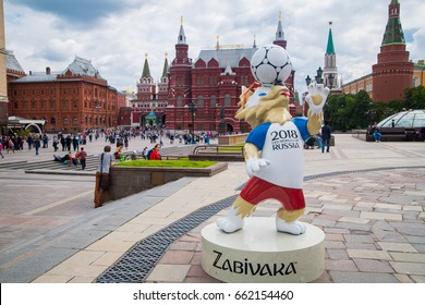 Moscow, Russia. June, 17, 2017 The official mascot of the 2018 FIFA World Cup and the FIFA Confederations Cup 2017 wolf Zabivaka at the Manezhnaya Square in Moscow