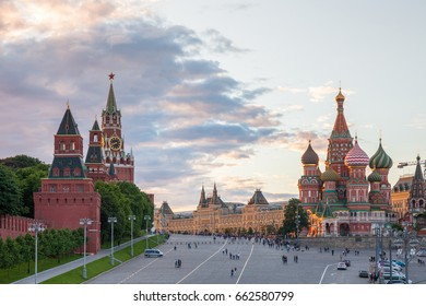 Moscow, Russia - June 17, 2017: Beautiful sunset view of the Red Square on June 17, 2017 in Moscow, Russia.