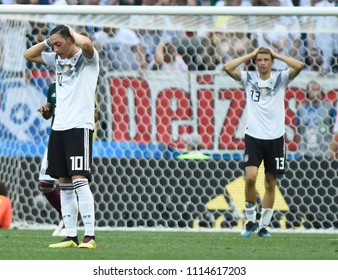 MOSCOW, RUSSIA - June 17 2018: Germany kicks the ball during the World Cup game between Germany  and Mexico at Luzhniki Stadium.