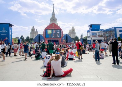 Moscow, Russia. June, 17, 2018.  Fan zone at Vorobyovy Gory (Sparrow hills) . FIFA fan fest.