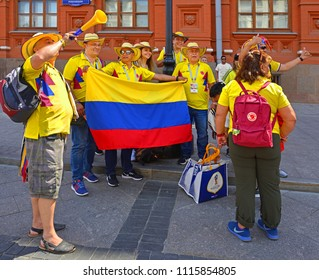 MOSCOW, RUSSIA - JUNE 17, 2018: 2018 FIFA World Cup. Fans from  Colombia in center of Moscow