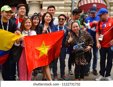 MOSCOW, RUSSIA - JUNE 17, 2018: 2018 FIFA World Cup. Fans and tourists from different countries on Nikolskaya street