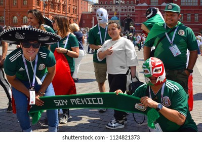 MOSCOW, RUSSIA - JUNE 17, 2018: 2018 FIFA World Cup. Mexican Football Fans on Manege Square in center of Moscow