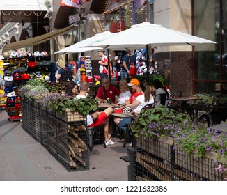 MOSCOW, RUSSIA - June 17, 2018: The famous pedestrian street in Moscow Old Arbat