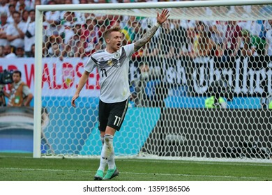 Moscow, Russia, June, 17, 2018. Luzhniki stadium. Marco Reus in the football match of FIFA World Cup 2018 between Germany &  Mexico.