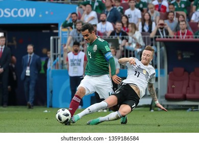 Moscow, Russia, June, 17, 2018. Luzhniki stadium. Rafael Marquez & Marco Reus in the football match of FIFA World Cup 2018 between Germany &  Mexico.
