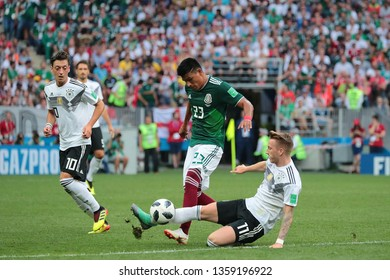 Moscow, Russia, June, 17, 2018. Luzhniki stadium. Mesut Oezil, Jesus Gallardo & Marco Reus in the football match of FIFA World Cup 2018 between Germany &  Mexico.