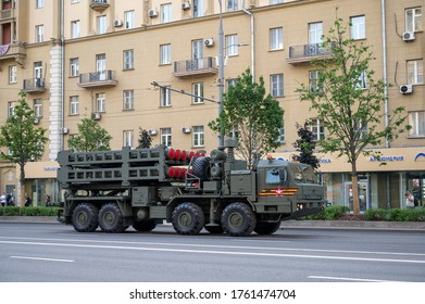 Moscow / Russia - June 17, 2020: Self-propelled launcher of the S-350 anti-aircraft missile system on the BAZ-69092 chassis follows Bolshaya Sadovaya Street to be ready for the rehearsal of the parade