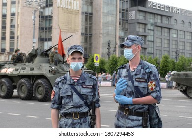 MOSCOW, RUSSIA - JUNE 17, 2020:Soldiers of the internal troops of the Russian guard on Tverskaya street in Moscow during the night rehearsal of the Victory parade