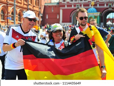 MOSCOW, RUSSIA - JUNE 17: Fans of Germany national football team in the street of Moscow, Russia on June 17, 2018.