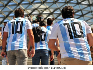 MOSCOW, RUSSIA - JUNE 17: Fans of Argentina football team in Moscow on June 17, 2018.