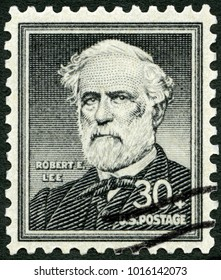 MOSCOW, RUSSIA - JUNE 18, 2014: A stamp printed in USA shows Robert Edward Lee (1807-1870) Confederate soldier, 1954