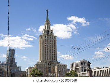 MOSCOW, RUSSIA - JUNE, 18 2015:Hotel Leningradskaya Hilton on Komsomolskaya square, has been built in 1954. Moscow, Russia.
