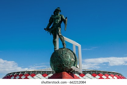 MOSCOW, RUSSIA - June, 18, 2017 The sculpture of the gladiator in the square in front of the Spartak stadium in Moscow, where the matches of the FIFA Confederations Cup 2017  will be held.