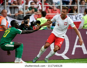 MOSCOW, RUSSIA - June 18, 2018: World Cup  game between Poland and Senegal, true spirit of the sport.,at Luzhniki Stadium