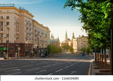 MOSCOW, RUSSIA - JUNE 18, 2018: The main street of Moscow - Tverskaya in summer morning in Moscow, Russia