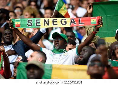 MOSCOW, RUSSIA - June 19, 2018: fans celebrating during the World Cup Group H game between Poland and Senegal at Spartak Stadium.