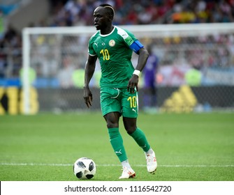 MOSCOW, RUSSIA - June 19, 2018: Sadio Mane during Senegal's National Anthem at the 2018 World Cup Group H game between Poland and Senegal at Spartak Stadium.