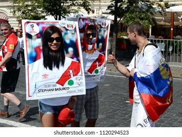 MOSCOW, RUSSIA  JUNE 19, 2018: World Cup 2018, Football fans on Red Square. FIFA world cup, Mundial 2018.