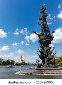MOSCOW, RUSSIA - June 19, 2018: Monument to the Russian czar Peter the Great on a Bypass canal of the Moscow river